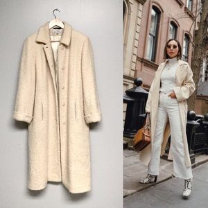 Vintage cream wool full length coat